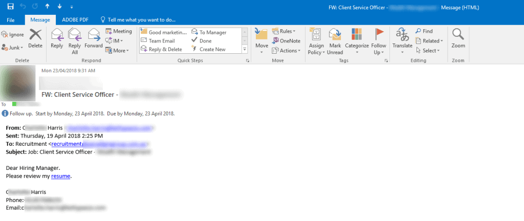 Scam Email in Outlook