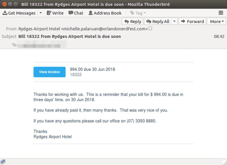 Xero invoice scam