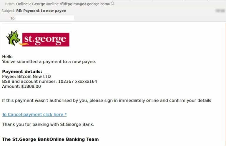 Fake St George Bank